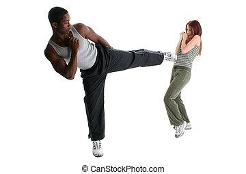 interracial paar, sparring, aantrekkelijk