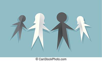 interracial, papier, famille, illustration, poupée