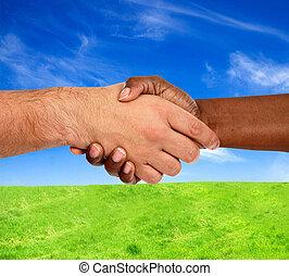 interracial, poignée main