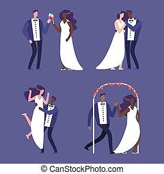 interrazziale, illustrazione, couples, matrimonio, vettore, caratteri, matrimonio