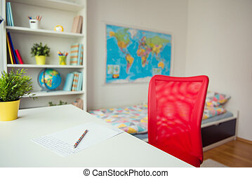 interrior, o, dítě, ložnice, s, barvitý, zamluvit