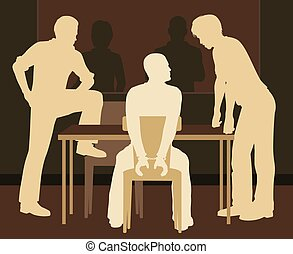 Editable vector illustration of a handcuffed man being interrogated by detectives