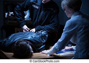 interrogation, arrestation, salle