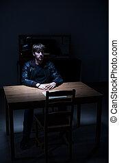 interrogation, suspect, salle, homme
