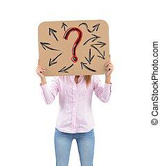 Interrogative woman - A woman unsure of her future work