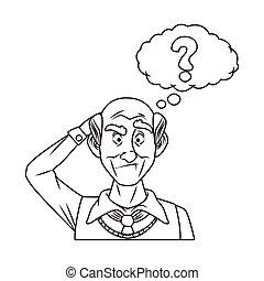 interrogazione, simbolo, bolla, discorso, vecchio, nonno