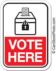 interroger endroit, signe, -, votez ici