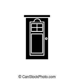 Interroom door black icon, vector sign on isolated background. Interroom door concept symbol, illustration
