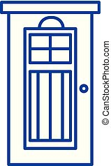 Interroom door line icon concept. Interroom door flat  vector symbol, sign, outline illustration.