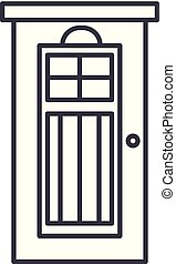 Interroom door line icon concept. Interroom door vector linear illustration, symbol, sign