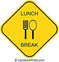 interrupción, almuerzo, vector, -, icono