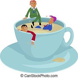 interrupción, café