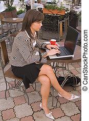 interrupción, café, empresa / negocio