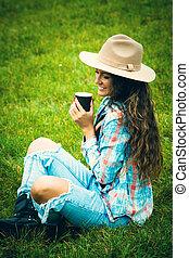 Interrupción, café, naturaleza