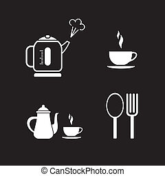 interrupción, café, vector, -, iconos