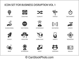 interrupción, conjunto, negocio digital, icono