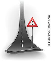 interrupción, de, camino de asfalto, con, señal de peligro