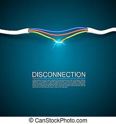 interrupción, desconecte, cable