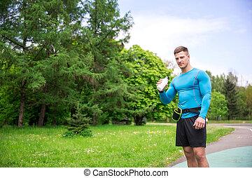 interrupción, durante, jogging, cortocircuito