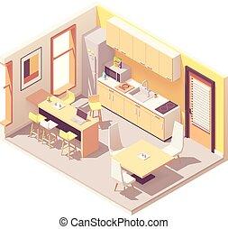 interrupción, isométrico, vector, habitación, oficina