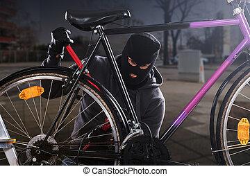 interrupción, ladrón, tratar, bicicleta, cerradura