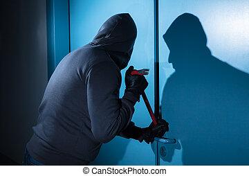 interrupción, ladrón, tratar, puerta