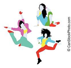 interrupción, niña, feliz, silueta, bailando