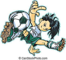 Interrupción, niña, futbol, asiático, bailando