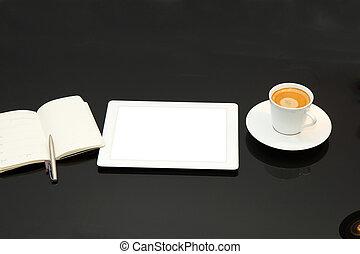 Interrupción,  PC, café, tableta