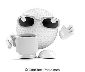 interrupción, pelota de té, golf, 3d