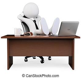 interrupción, personas., trabajo, blanco, 3d