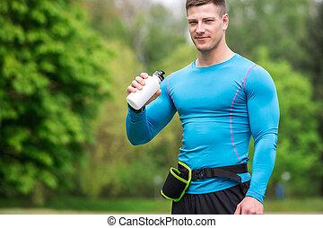 interrupción, toma, jogging