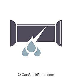 interrupción, tubo, estilo, icono, caricatura, agua, goteo, trompeta