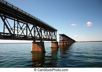 interrupted rail bridge to key west - famous old bridge on...