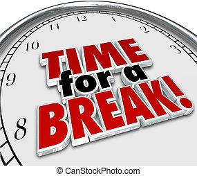interruption, pause, horloge, coupure travail, mots, temps, 3d