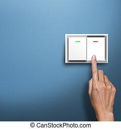 interruptor, apertando, mão