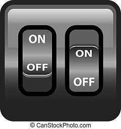 interruptor, desligado, plástico