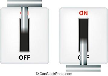 interruptor, vector, eléctrico, ilustración, cuchillo