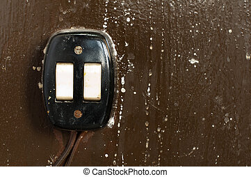 interruptor, viejo, eléctrico