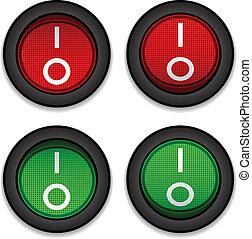 interruptores, círculo, vector, palanca, potencia