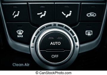 interruptores, coche, acondicionador, moderno, Aire