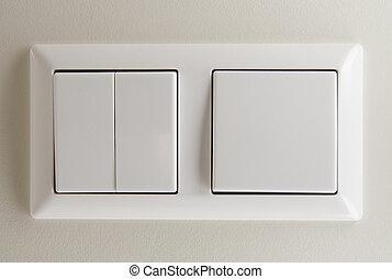 interruptores, luz, dos
