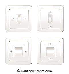 interruptores, luz, vetorial, ilustração, quatro