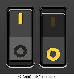 interruptores, palanca, vector, negro, potencia