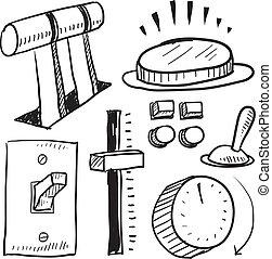 interruptores, palancas, bosquejo