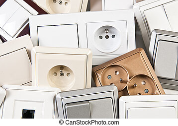interruptores, pareja, eléctrico, enchufes, colorido
