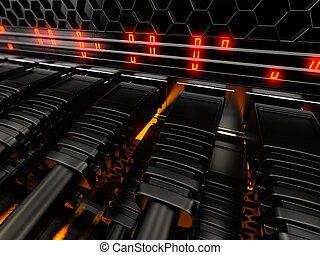 interruttore, moderno, rete, cables.