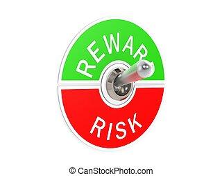 interruttore, ricompensa, leva articolata, rischio
