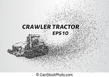 interruzioni, particles., giù, bruco, macchinario, agricolo, piccolo, molecules., trattore