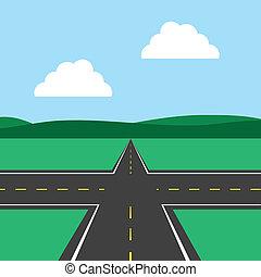 interseção, estrada